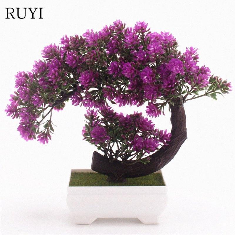 Kreativität Neue künstliche Blumen + Vase Bonsai-Pflanzen-Blume Topf gefälschte Pflanzen für Haus Wedding Partei-Hotel-Dekoration 1 Satz R1b1 #