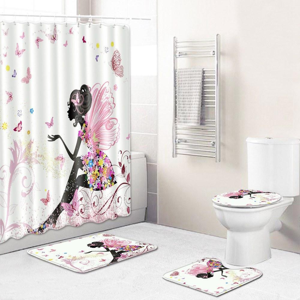 2020 новая цифровая бабочка цветок шаблон печати творческой ванны коврик ванной ковер туалет набор занавеску установить санитарную перегородки curtai