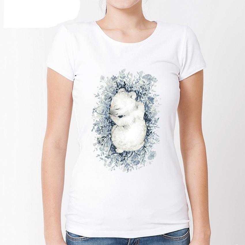 Cute Sleeping Bear/Fox T-Shirt Women/Ladies Animal Hipster T Shirt Printed Slim Fit White Tee Tops Lc3235