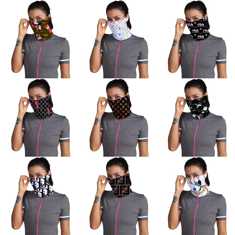 Designer Printed Women Cotton Magic Scarf Face Mask 14 Styles Chiffon Handkerchief Outdoor Windproof Half Face Dust-Proof Sunshade Masks #328