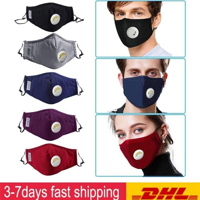 Unisexe Lavable Masque réutilisable en tissu coton Masques visage de filtre Échangeable avec blanc Valve respirateurs gratuitementC PM2.5 Filtres