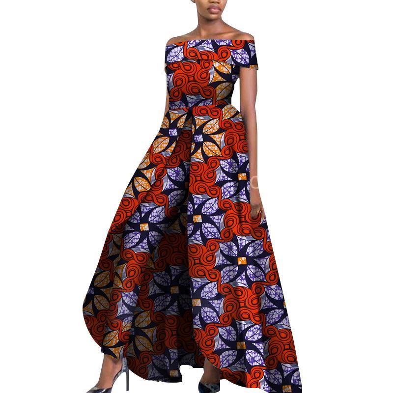 Etnik Giyim Yaz Kadınlar Için Afrika Tulum 2021 Baskılı Batik Bazin Vestidos Dashiki Parti Giysileri SL3584