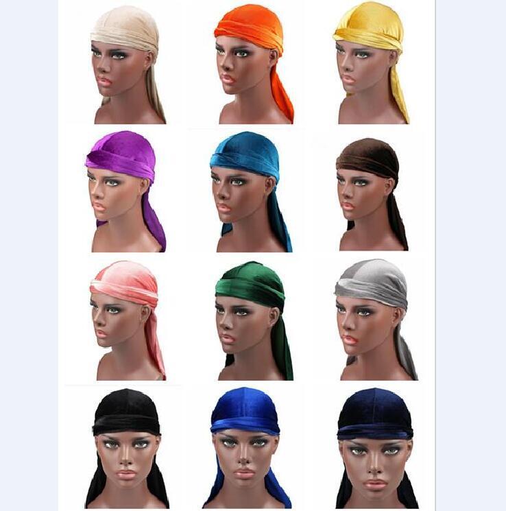 tampas piratas venda Hot Men mulher Velvet Durags Bandana Turban Hat Perucas Doo Durag motociclista Headwear Headband pirata Hat Acessórios de cabelo
