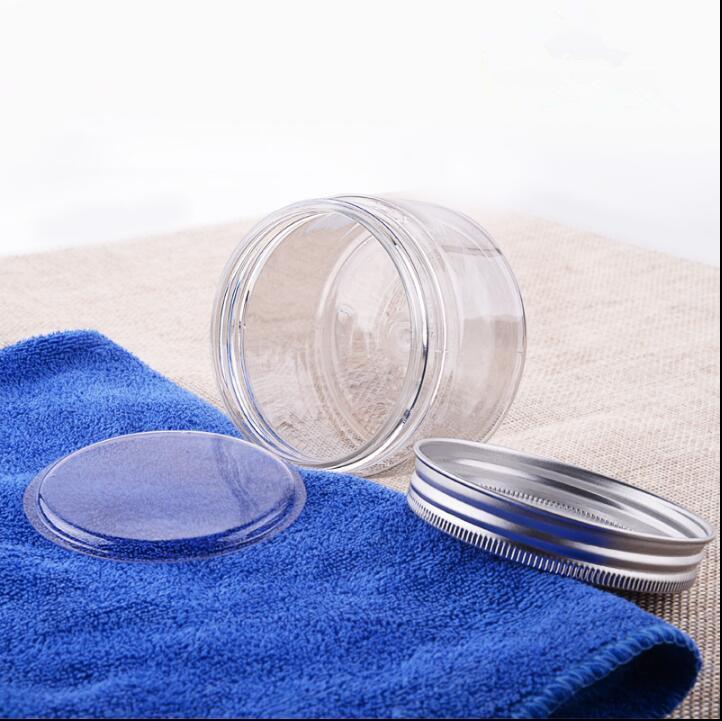 Leerer klarer 100G / ml B0TLE-Kunststoff-Aluminium-Kappe-Container Innenkappe Salz leeres Sahnebad Kosmetik mit IQHum