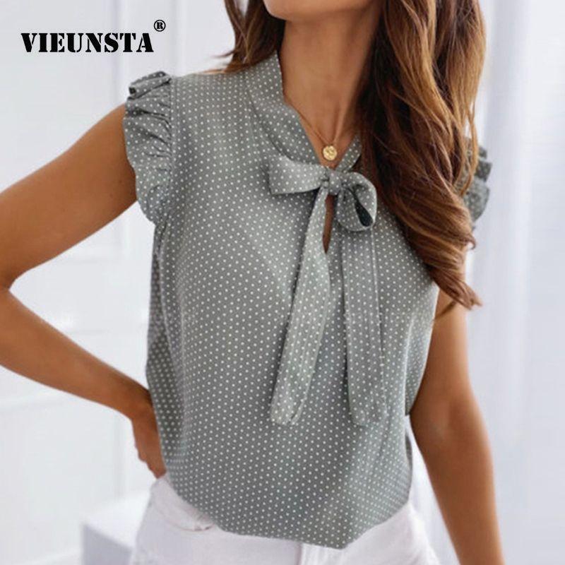 Blusas de mujer elegante mariposa mangas cortas camisa mujer 2020 primavera verano o cuello lunar lunar hembra tops jersey vintage blusa y200622