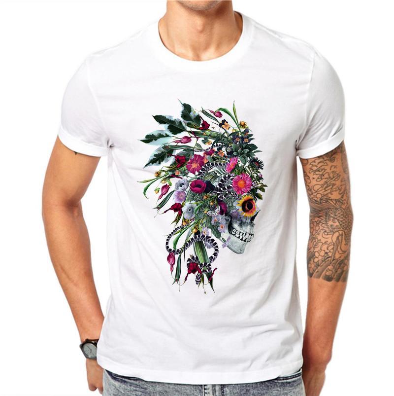 100% coton Hip Hop Hommes Crâne punk chef indien T-shirts manches courtes Casual Hauts fleur imprimé floral T-shirt blanc T