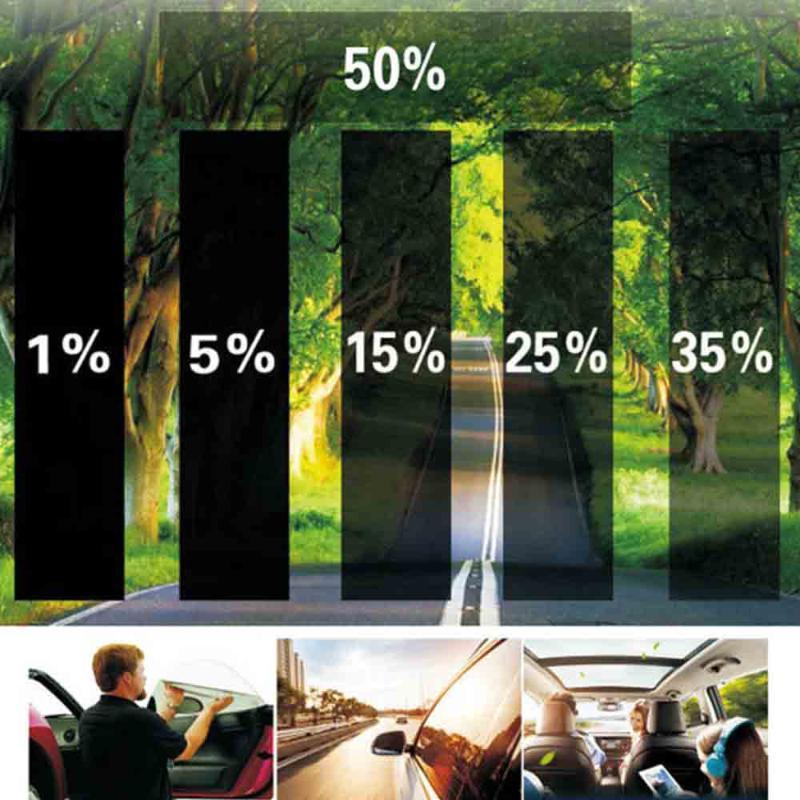 0,75 × 3.0M Auto-Haus-Fenster-Glas-Tönung Tönungs Film-Rolle mit Scraper zum Seitenscheibe Anti UV Film Transmission 5% 15% 35% 50%