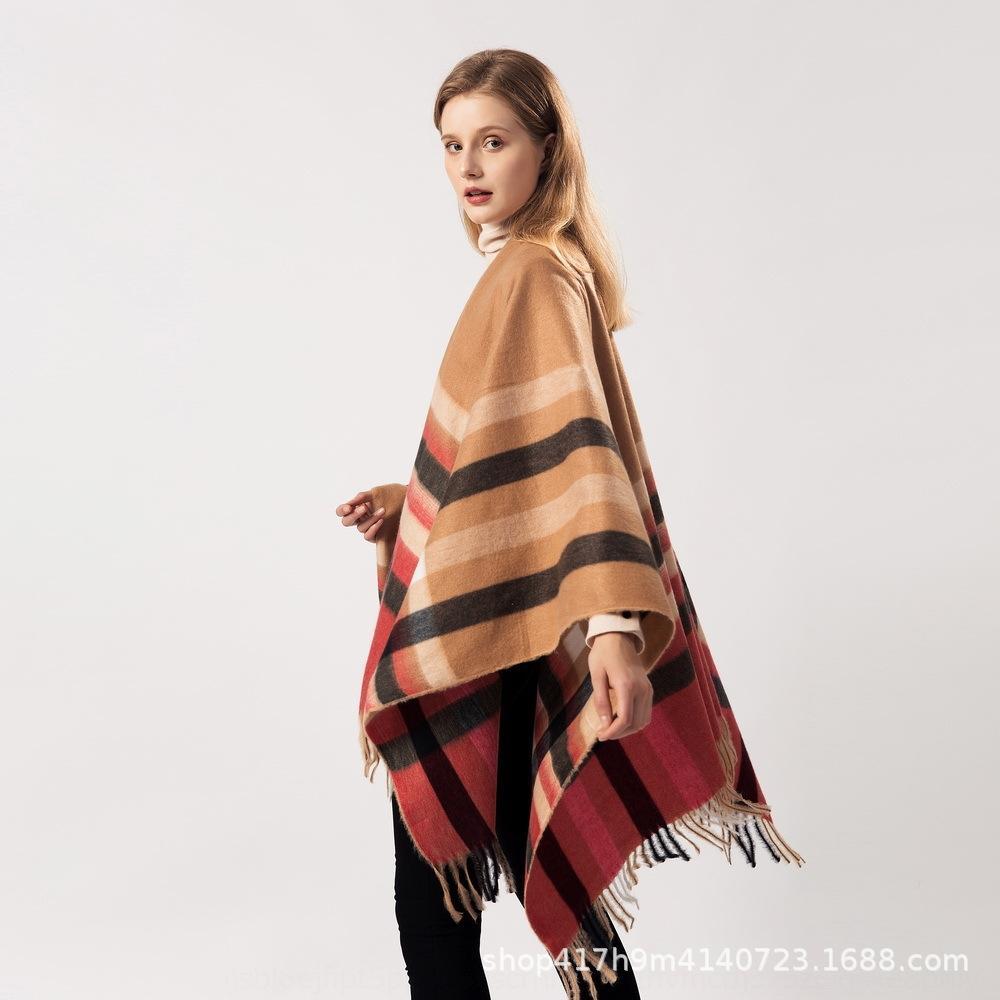 moda autunno di colore delle donne scialle e l'inverno plaid nappa scialle mantello caldo divisi Nuovo plaid tutto-fiammifero caldo mantello a duplice uso Fp3wG