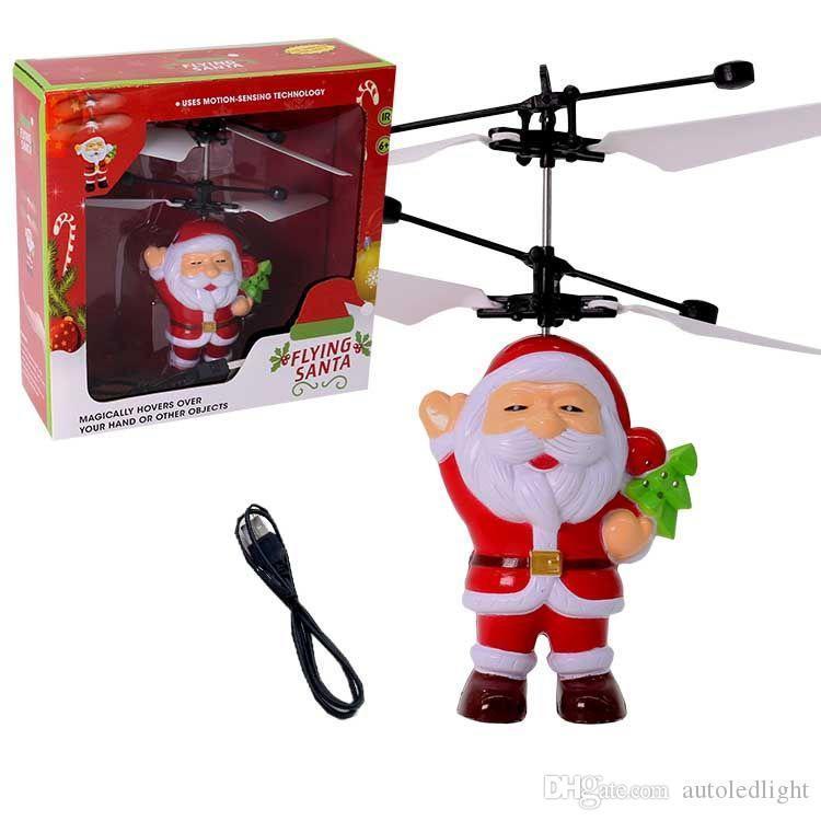LED Père Noël Capteur infrarouge électrique volant Noël clignotant jouets du Père Noël Inductive Avion Hélicoptère Magic Kids Cadeau de Noël