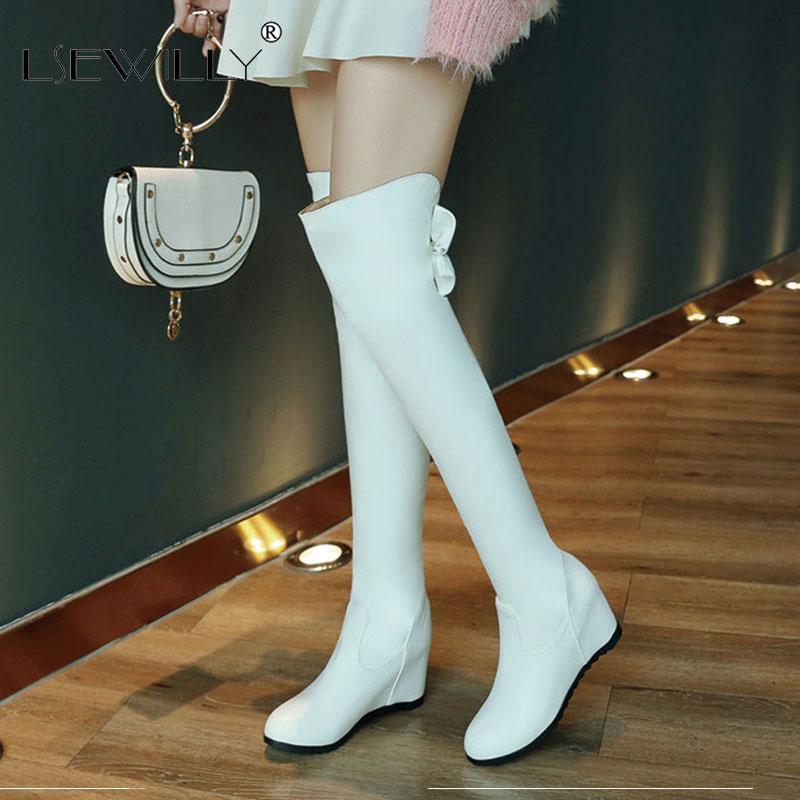 Lsewilly 2020 Stretch sopra il ginocchio Stivali Donne Stivali a metà coscia punta rotonda Slip On scarpe invernali Donna Tacchi alti stivali lunghi