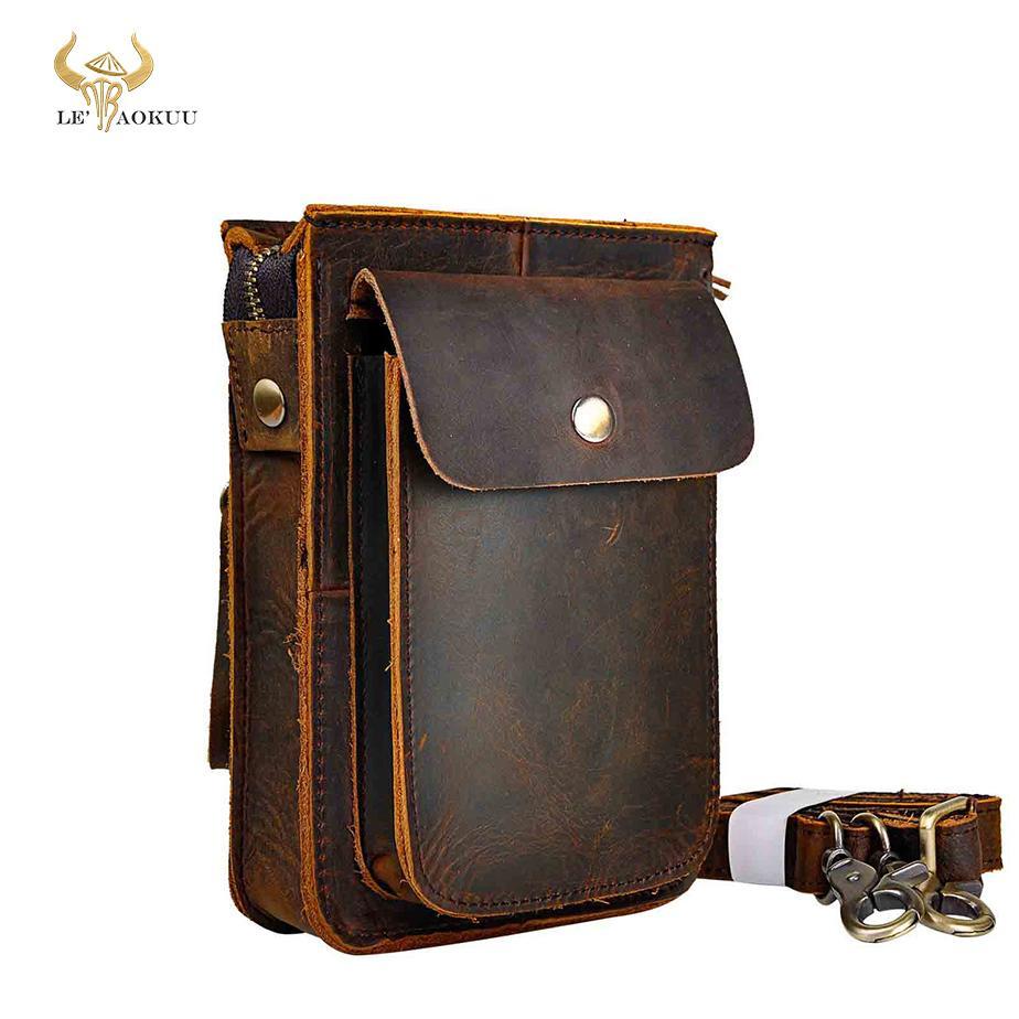 Crazy Horse couro multifunções Casual diário Moda Pequeno Mensageiro de um ombro Bag Designer cinto Bag Phone Pouch 021 MX200717