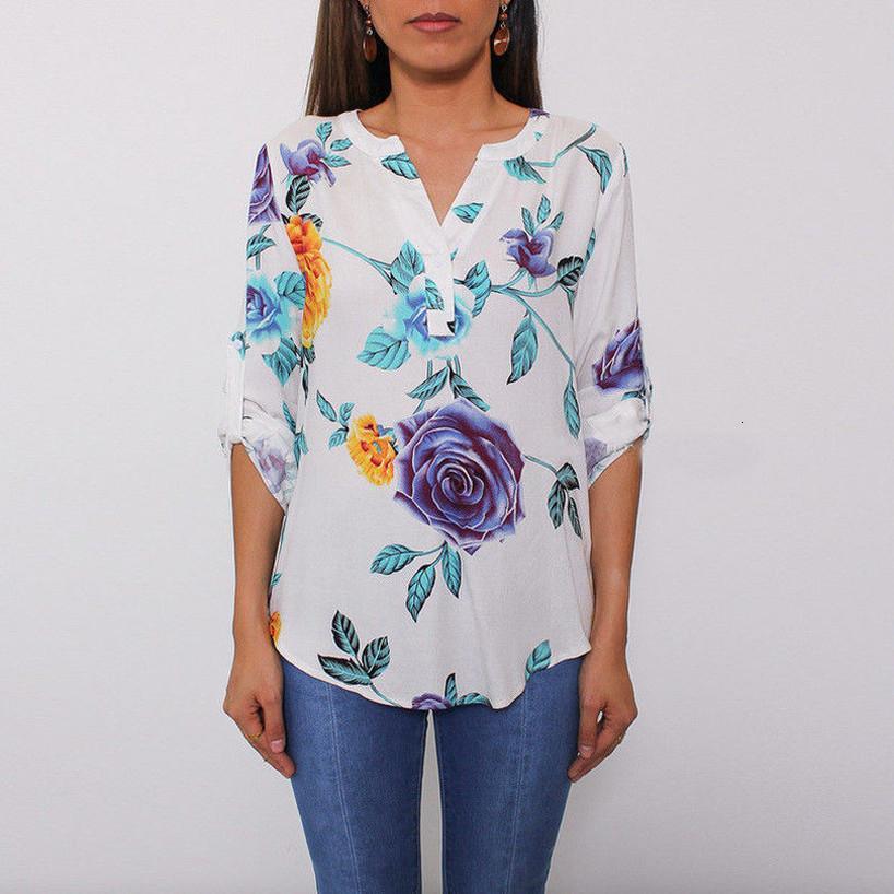 Lady Casual Çiçek Printedtops Gömlek Moda Kadınlar Yaz Gevşek İlk 3 4 Kol V Yaka Bluz Sıcak Satış Baskı Gömlek Womens