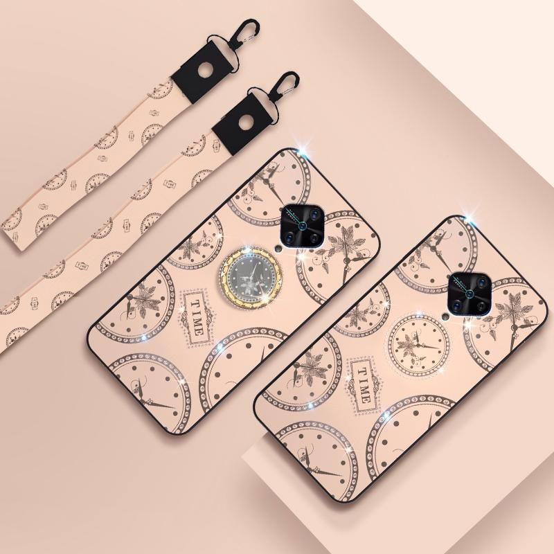 Para el patrón del reloj de moda Vivo Y9s Rhinestone cáscara del teléfono móvil con el soporte de la mano cuerda cuerda