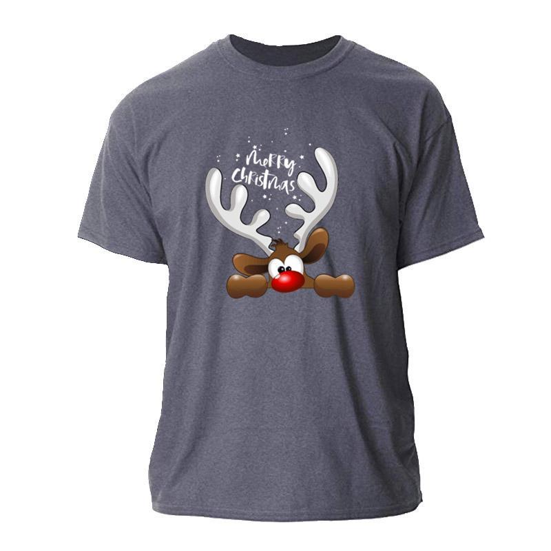 New Weihnachtsren T-Shirt Männer Große Euro-Größe Sommer-Männer-T-Shirt Kurzarm Unisex-Männer-T-Shirt aus Baumwolle Einfachen Hiphop