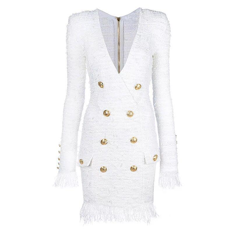 Casual Dresses HIGH QUALITY 2021 Fall Winter Est Designer Dress Women's V-neck Long Sleeve Lion Buttons Tassel Fringed Tweed