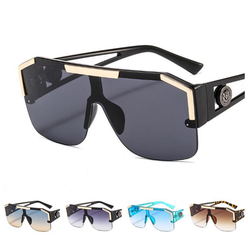 Moda Kadın Erkek Siyam Güneş Aslan kafası Tasarım Güneş Gözlükleri Gözlükler Karşıtı UV Gözlük Oversize Kesme Ornamenta A ++