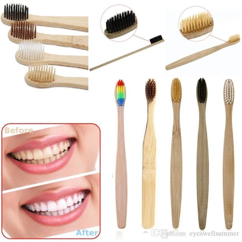 Kaliteli Ahşap Gökkuşağı Diş Fırçası Bambu Çevre diş fırçası Bambu Fiber Ahşap Saplı Diş fırçası Beyazlatma Gökkuşağı 5 renkler