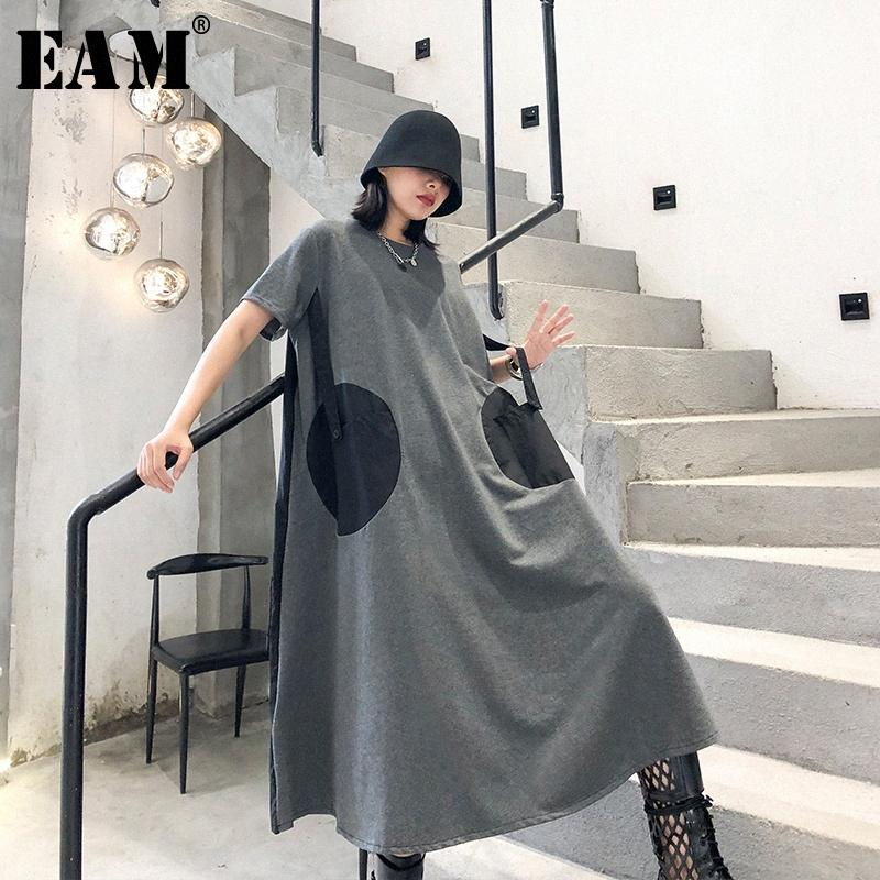 [EAM] Mujeres punto Pinrted Volver plisado vestido de tamaño grande de Nueva cuello redondo manga corta Holgado marea de la moda de primavera y verano 2020 1T459 Kyk9 #