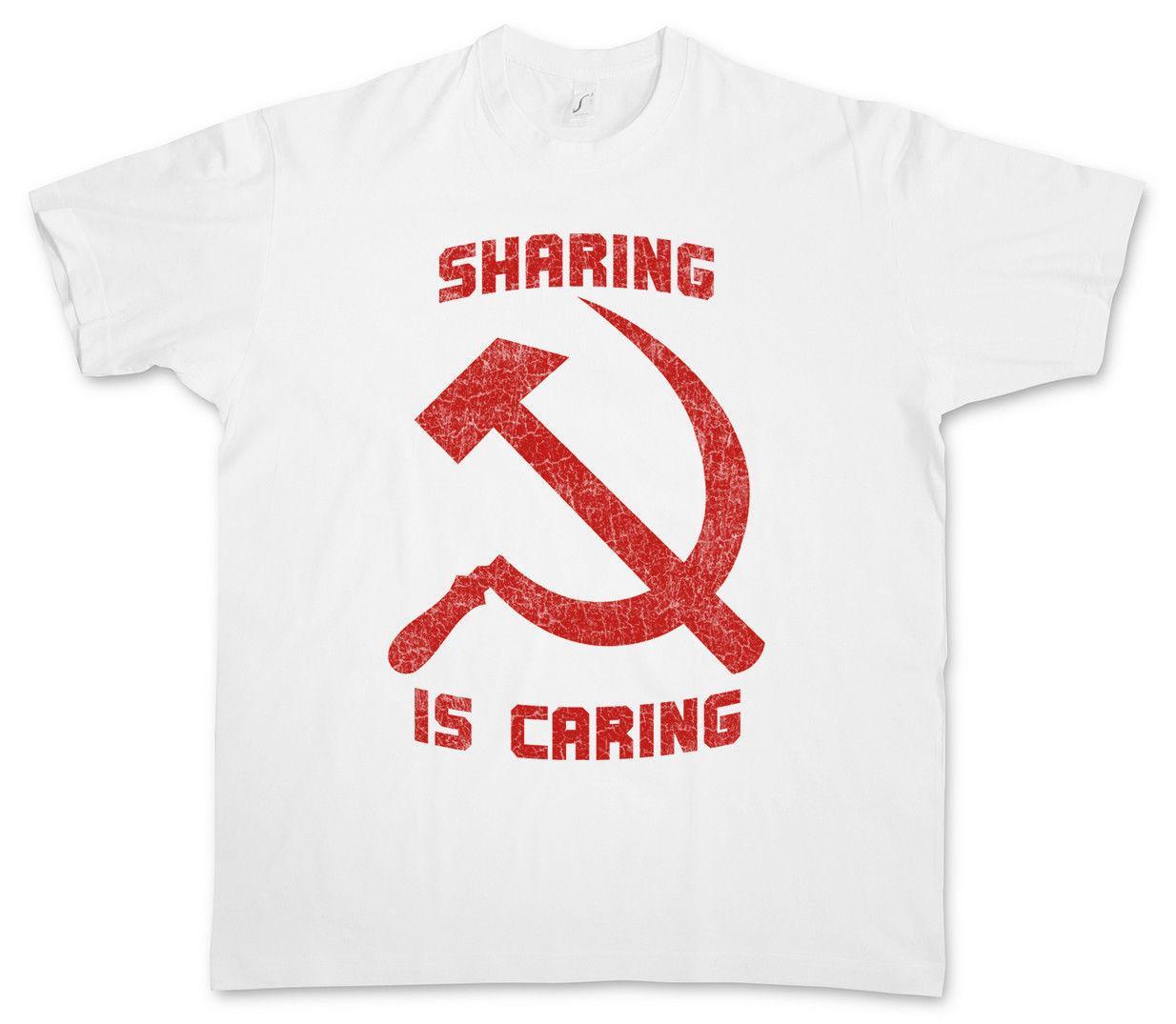 La condivisione è una T-shirt Caring socialista socialismo comunista comunismo martello Falce