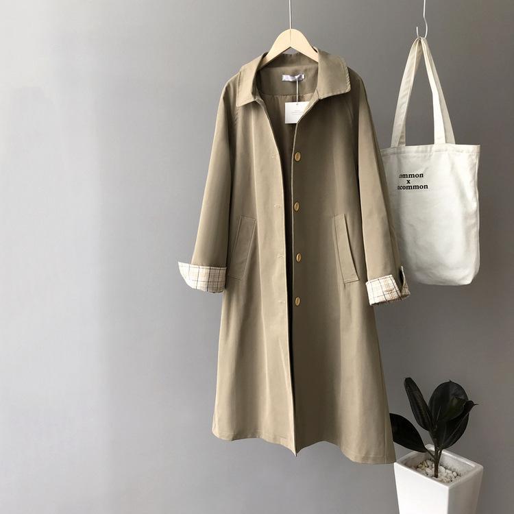 2020 Autumn Donne Cappotto lungo Turn Down Collar Donne Khaki Trench Coat Casaco feminino