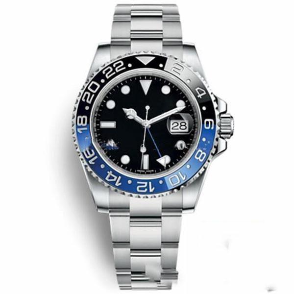 высокое качество Мастер Керамические ободок Мужские часы Glide Замок Застежка ремешка Автоматическая Синий Черный Часы Спорт Корона Часы наручные Orologio Релох