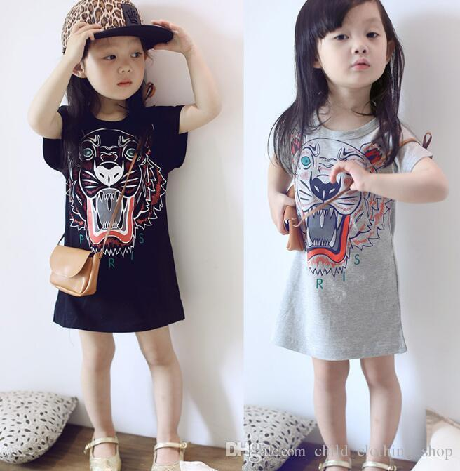 New Arrival Hot Tiger Head Printing Kids Dress Girl Clothes Animal Print Children T-Shirt Short Sleeve dress ins 90cm-130cm