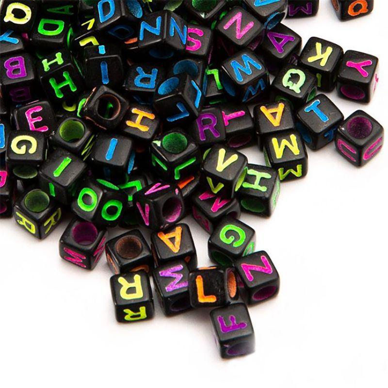 Акриловые DIY Украшения ручной работы Аксессуары Бисер 6MM Square Letter Beads Hand Spray бусины Дамы Дети Браслеты Ювелирные изделия