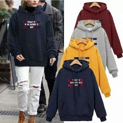 Women Casual Loose Pullover Hooded Sweatshirts Autumn Winter High Street Hoodies Female Plus Size Clothing Letter Print Hoodies 0U63#