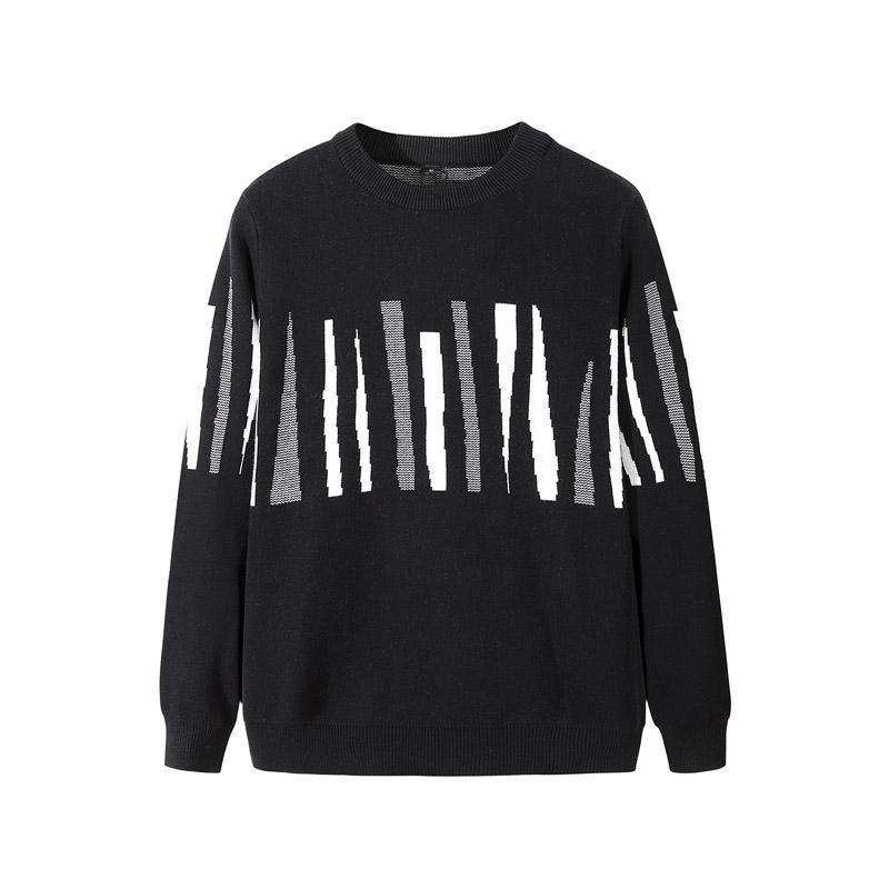 Mens Casual Pattern Sweater roupa listrada de algodão pulôver de malha Camisolas Coats por Homens Oversize 2020 Pull Autumn Homme Nova