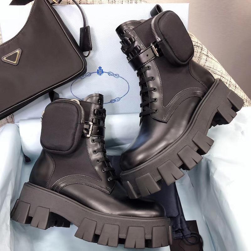 Mulheres Moda escovado Rois Botas Top Cowskin Leather Nylon Martin botas com removível Pouch Preto Senhoras Sapatinho Outdoor Shoes austrália