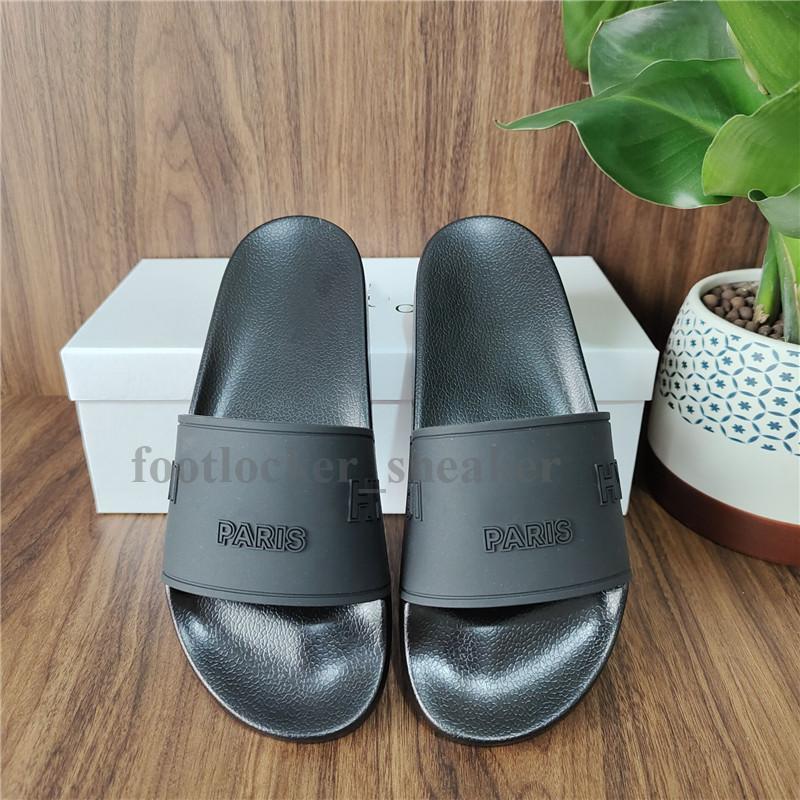 Nova Versão Paris Slides Mens Womens Verão Sandals Praia Chinelos Ladies Flip Flops Preto Lazer Slider Chaussures Moda Footwear Scuffs