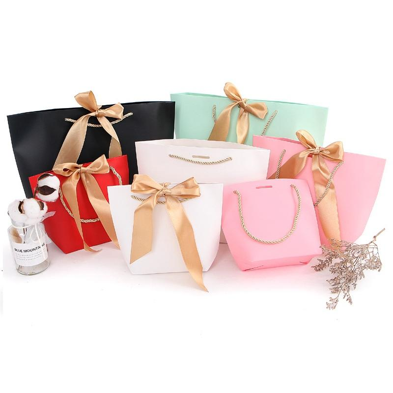 4 Size Large Size Present Box For Clothes Books Packaging Gold Handle Paper Box Bags Kraft Paper Gift Bag With Handles LX2087