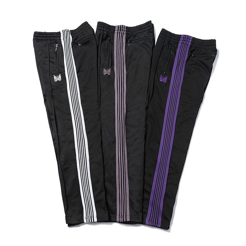Needles Casual Streetwear AWGE Sweatpants Women Men Striped Zipper AWGE Pants Butterfly Embroidery Joggers Needles Trousers