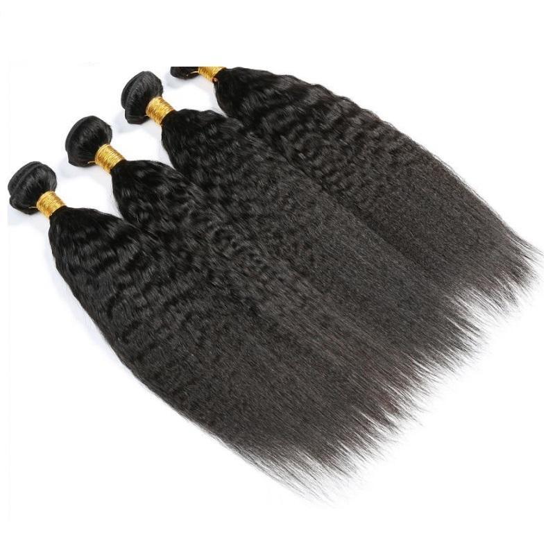 Cuticle aligned human hair bundles peruvian kinky straight virgin hair weave 4 bundles 400g lot natural color unprocessed hair extension