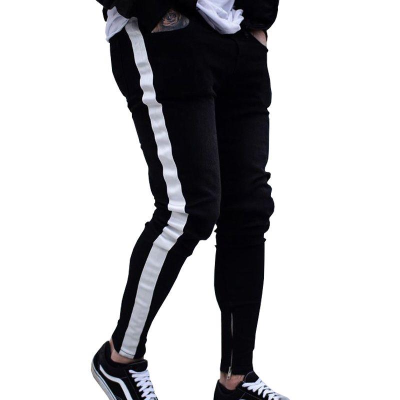 Men's Jeans Skinny Men Hip Hop Stripe Elastic Slim Fit Denim Pants Male Stretchy Pencil Bottoms Street Knee Ripped Holes