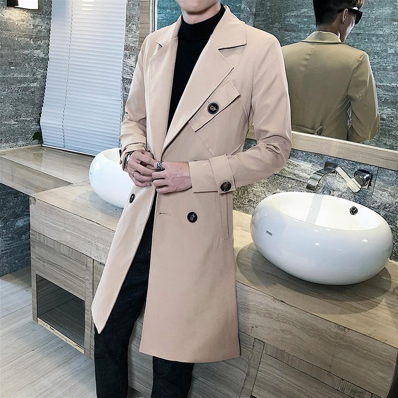 2019 automne nouveau manteau coupe-vent grande mode manteau de tempérament LONGUES hommes de type coupe-vent double boutonnage hommes de taille occasionnels