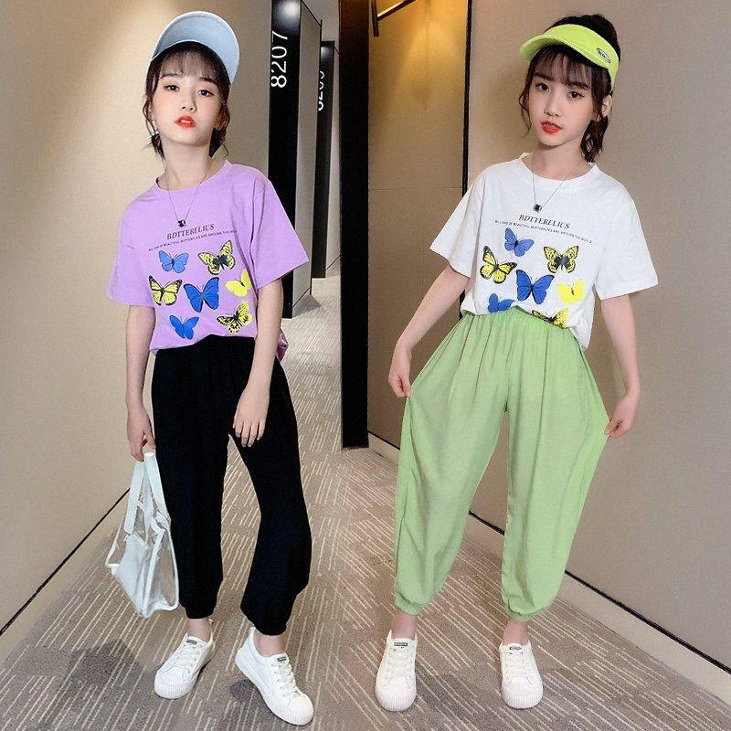 Vêtements bébé fille Ensemble papillon Top + Pantalon ensemble de vêtements pour adolescents T-shirt d'été en coton papillon mode costume deux pièces Tenues QiQp #