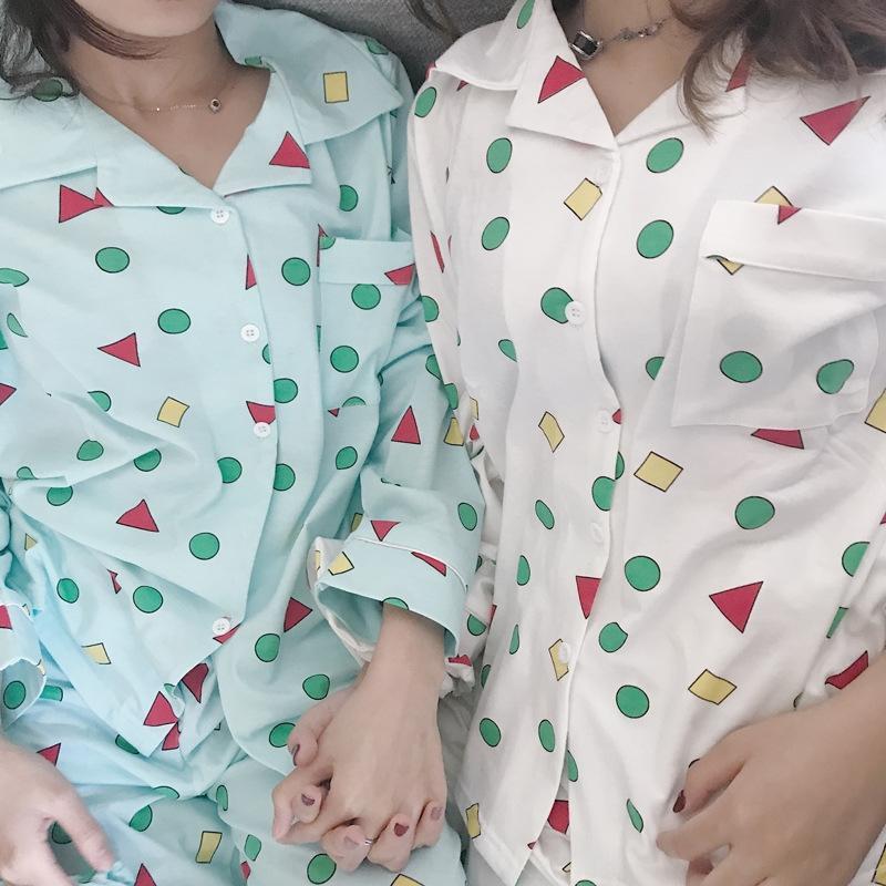 Crayon yeni giysiler ev mobilya giyim uzun kollu pijama uzun kollu sonbahar geometrik desen elbise ev giysileri
