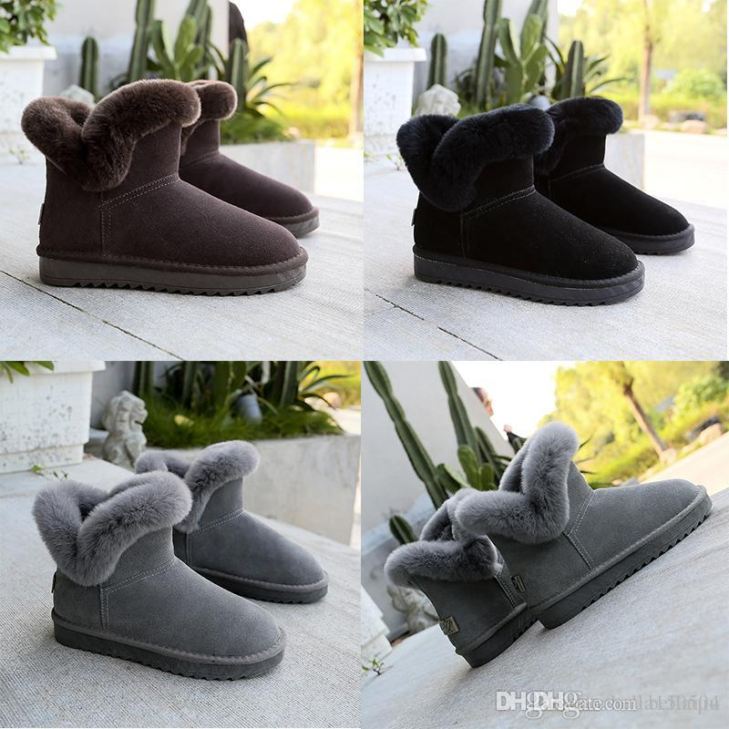 Schneeschuhe Winter-echtes Leder-Frauen-Australien klassische Stiefeletten Fell schwarz grau braun Frauen Mädchen Schuhe Freizeitschuhe FREE SHIPPING