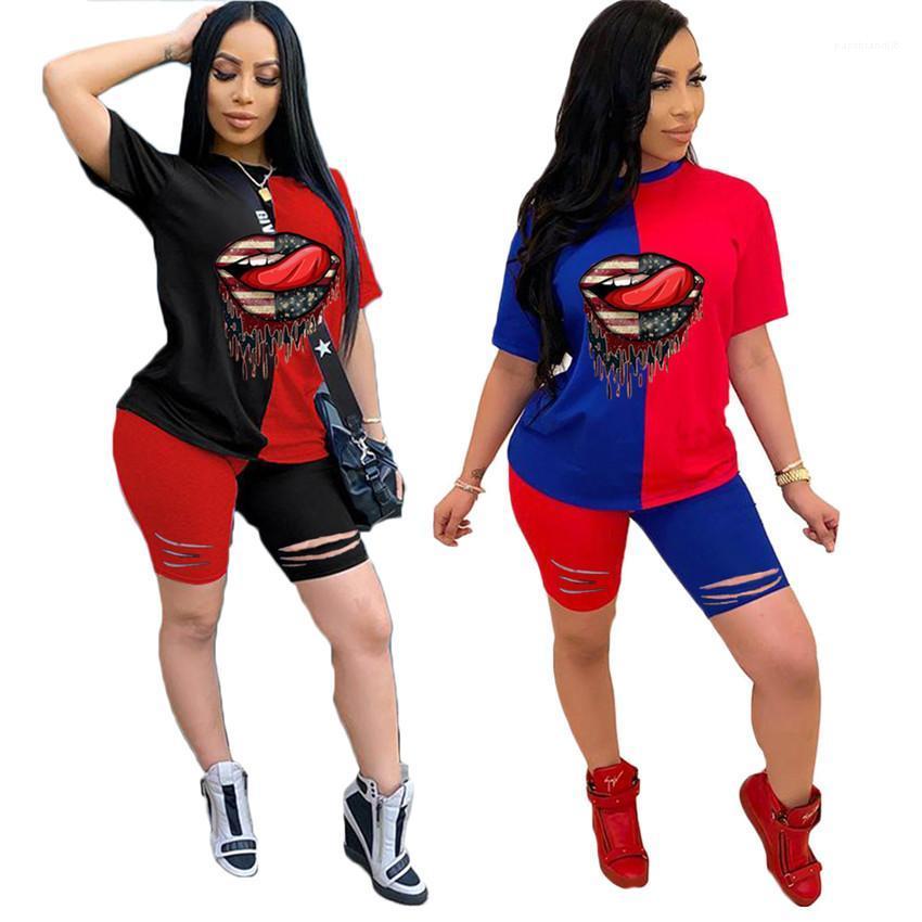 Kıyafetler Yaz Kadın Spor Casual Setleri Delik Tasarımcı Dudaklar Kadın eşofman Patchwork O yaka Kısa Kollu Bayanlar İki adet