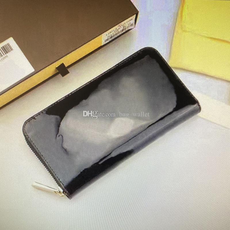 Zippy carteira de couro vernis sólido em relevo flor patente mulher moda luxurys designers carteiras titular de cartão mulheres Única zíper longo moeda bolsa m90416 m90417