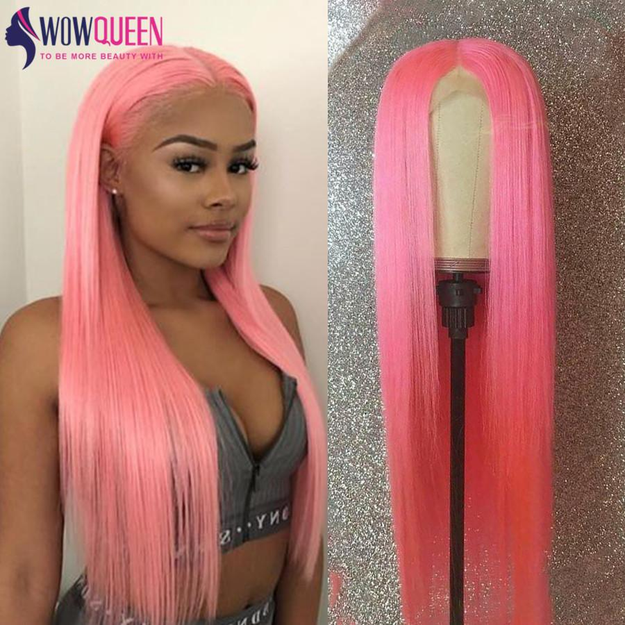Blonde perruque avant de dentelle 30 pouces perruque droite péruvienne 613 avant de dentelle perruque WowQueen Lace Front perruques de cheveux humains