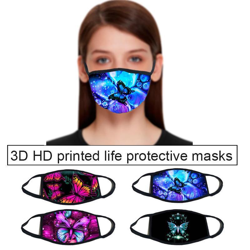 Out Door Esporte equitação Máscaras Moda Designer máscara da borboleta padrão 3D imprimir Designer máscara facial com algodão reutilizável máscaras