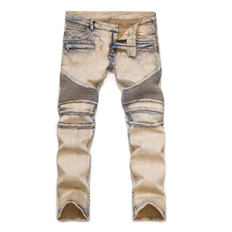 Lamentando flaco jeans rotos Para Hombres Tamaño Plus 27-42 delgada para hombre de la motocicleta de Moto del motorista barato Jeans Denim Street Hip Hop Pantalones