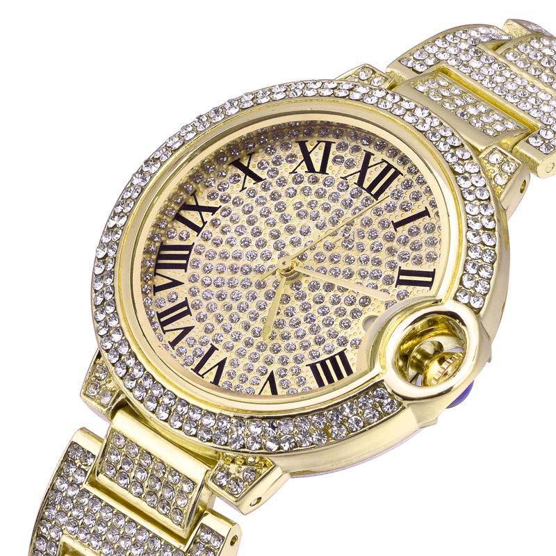 جودة عالية المرأة ووتش التسلق الساعات الماس كامل مثلج ووتش تصميم الفولاذ المقاوم للصدأ الكوارتز حركة الرجال النساء زوجين الساعات