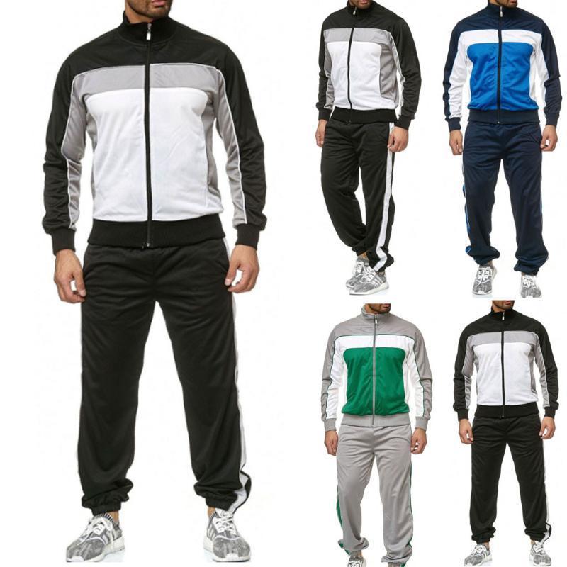 Mens Tracksuits Tops Calças de suor Suites Casual Sports Splicing Zipper Imprimir Suéter Calças superiores Conjuntos de terno de esporte Tracksuits