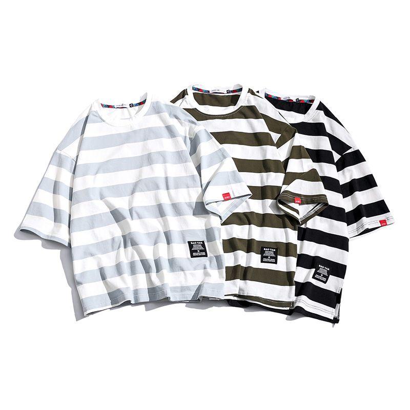 Les hommes t-shirt Casual Stripe manches courtes à rayures hommes manches courtes couleur Contraste manches courtes Homme Mannen Homme Hommes T-shirts