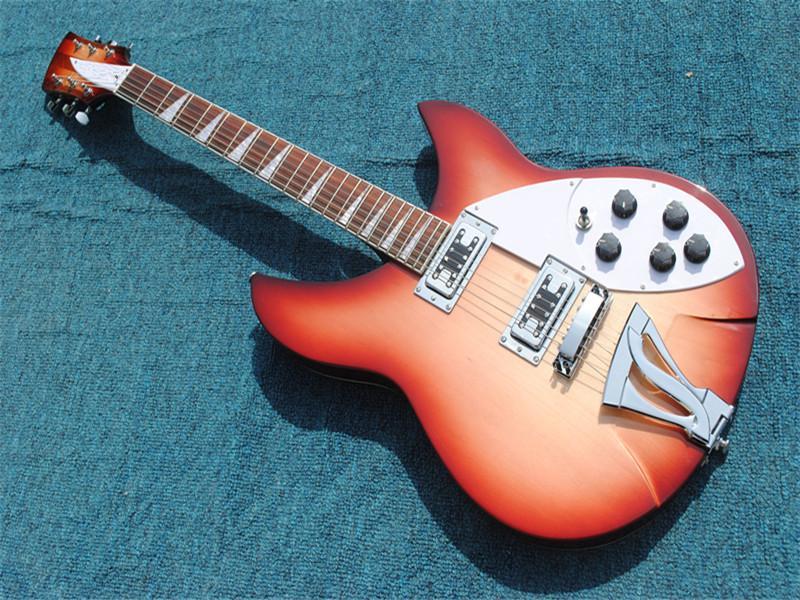 Nouvelle arrivée! La couleur orange Guitare basse électrique avec Touche palissandre, blanc pickguard, pont Tremolo, fournir des services personnalisés,