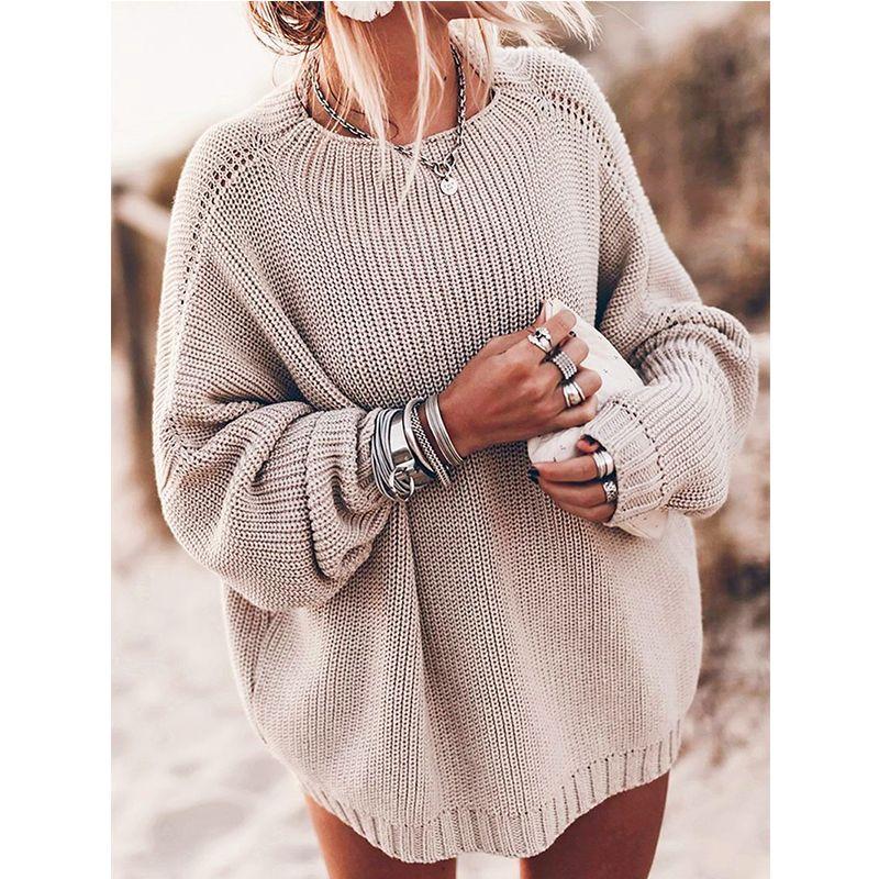 Длинные рукава O шеи трикотажные женщин Свитера Пуловеры Осень Зима Solid Plus Размер Пушистый свитер Перемычка дамы Трикотаж Y200720