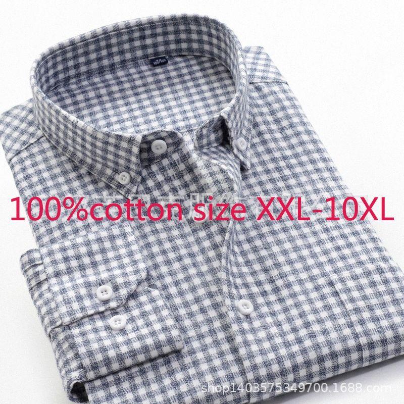 2020 2020 nuevo de alta calidad 100% puro algodón súper flojo grande hombres espesado vestido de otoño camisas de franela a cuadros más el tamaño XXL 9XL 10XL bQ0V #